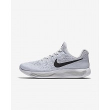 Womens White/Pure Platinum/Wolf Grey/Black Nike LunarEpic Low Flyknit 2 Running Shoes 490HXCRG
