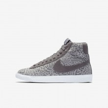 Girls Atmosphere Grey/Gum Light Brown/White/Gunsmoke Nike Blazer Mid SE Lifestyle Shoes 497BJOWF