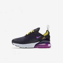 Boys Black/Tour Yellow/Hyper Magenta Nike Air Max 270 Lifestyle Shoes 500HBIOC