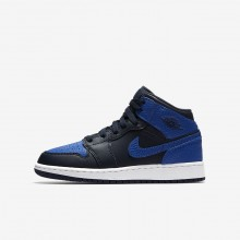 Air Jordan 1 Mid Lifestyle Shoes For Boys Obsidian/Summit White/Game Royal 517BVPLQ