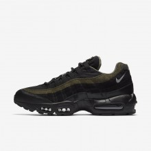 Mens Black/Cargo Khaki/Flat Silver Nike Air Max 95 HAL Lifestyle Shoes 518UMDCL