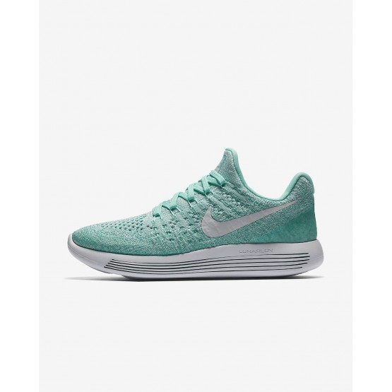 Womens Hyper Turquoise/Igloo/Clear Jade/Pure Platinum Nike LunarEpic Low Flyknit 2 Running Shoes 522EPKBM