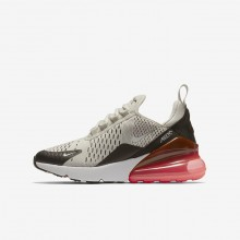 Boys Light Bone/Black/Hot Punch/White Nike Air Max 270 Lifestyle Shoes 549ZYLTE