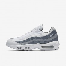 Mens White/Cool Grey/Wolf Grey Nike Air Max 95 Essential Lifestyle Shoes 552MYJTU
