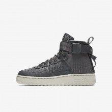 Nike SF Air Force 1 Mid Lifestyle Shoes For Boys Dark Grey/Light Bone 569FUVGN