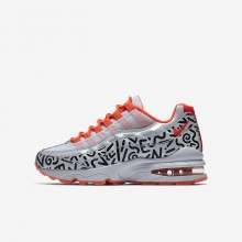 Boys White/Black/Bright Crimson Nike Air Max 95 QS Lifestyle Shoes 570EOYSV