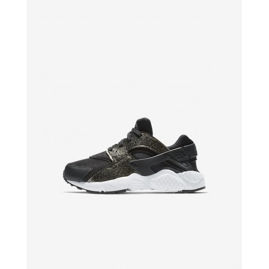 Girls Black/Metallic Gold/White Nike Huarache SE Lifestyle Shoes 573VRDIM