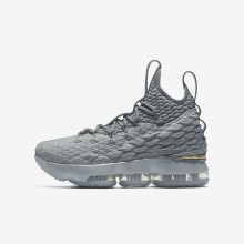 Boys Wolf Grey/Cool Grey/Metallic Gold Nike LeBron 15 Basketball Shoes 573XMBVE