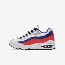 Boys White/Solar Red/Ultramarine/Black Nike Air Max 95 Lifestyle Shoes 576QGHXE