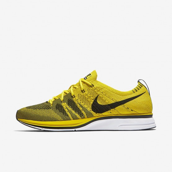 Mens Bright Citron/White/Black Nike Flyknit Trainer Lifestyle Shoes 577ELJVT