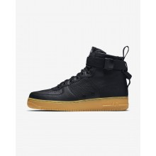Mens Black/Gum Light Brown Nike SF Air Force 1 Mid Lifestyle Shoes 577WDZHT