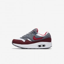 Boys White/Cool Grey/Team Red/University Red Nike Air Max 1 Lifestyle Shoes 582TFKCW