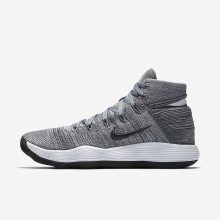 Nike React Hyperdunk 2017 Flyknit Basketball Shoes For Women Cool Grey/Pure Platinum/White/Anthracite 585XMZET