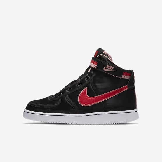 Girls Black/Bleached Coral/White/Speed Red Nike Vandal High Supreme QS Lifestyle Shoes 591DIQAB