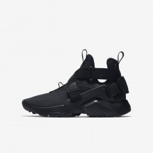Boys Black/White Nike Huarache City Lifestyle Shoes 595DYNJC