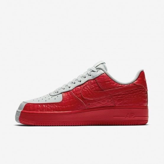 Mens Barely Grey/Habanero Red Nike Air Force 1 07 Premium Lifestyle Shoes 601ROICX