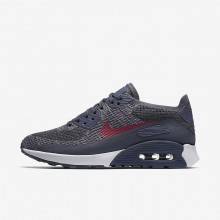 Womens Light Carbon/White/Fuchsia Glow/Pink Force Nike Air Max 90 Ultra 2.0 Flyknit Lifestyle Shoes 602RHZMA