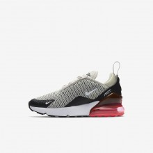 Boys Light Bone/Black/Hot Punch/White Nike Air Max 270 Lifestyle Shoes 622HYFEW
