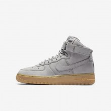 Nike Air Force 1 High WB Lifestyle Shoes For Boys Medium Grey/Black/Gum Light Brown 628JENXH