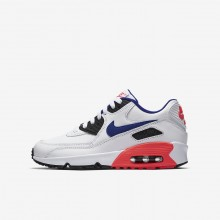 Boys White/Solar Red/Black/Ultramarine Nike Air Max 90 Leather Lifestyle Shoes 638ADRYC
