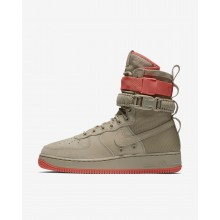 Mens Khaki/Rush Coral Nike SF Air Force 1 Lifestyle Shoes 644FUNOG