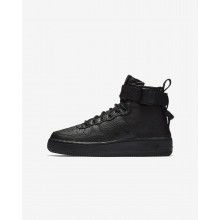 Boys Black Nike SF Air Force 1 Mid Lifestyle Shoes 646MICJG