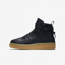 Boys Black/Gum Light Brown Nike SF Air Force 1 Mid Lifestyle Shoes 655JOEZV
