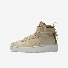 Boys Mushroom/Light Bone Nike SF Air Force 1 Mid Lifestyle Shoes 656FGAUS