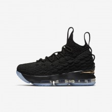 Boys Black/Metallic Gold Nike LeBron 15 Basketball Shoes 657OSDQB