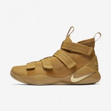 Womens Mineral Gold/Metallic Gold Nike LeBron Soldier XI SFG Basketball Shoes 683SGHJQ
