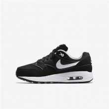 Boys Black/White Nike Air Max 1 Lifestyle Shoes 687COEBR