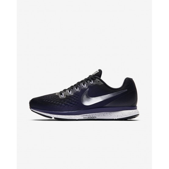 Womens Black/Ink/Provence Purple/Metallic Silver Nike Air Zoom Pegasus 34 Running Shoes 696PNFOL