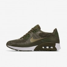 Womens Cargo Khaki/White/Neutral Olive Nike Air Max 90 Ultra 2.0 Flyknit Lifestyle Shoes 726OQJWR