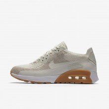 Womens Sail/Sand/Gum Yellow/White Nike Air Max 90 Ultra 2.0 Flyknit Lifestyle Shoes 751PEWJF