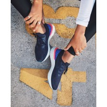 Womens College Navy/Racer Blue/Pink Blast Nike Epic React Flyknit Running Shoes 766HZNIE