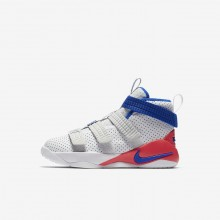 Boys White/Infrared/Pure Platinum/Racer Blue Nike LeBron Soldier XI SFG Basketball Shoes 777UKFOL
