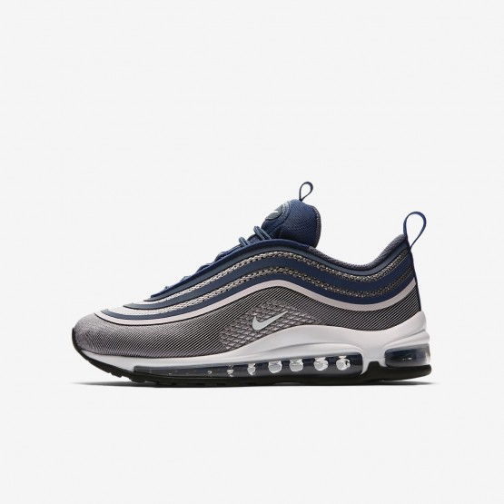 Girls Light Carbon/Barely Rose/Navy/White Nike Air Max 97 Ultra 17 Lifestyle Shoes 794OUKZM