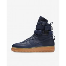 Mens Midnight Navy/Black/Gum Medium Brown Nike SF Air Force 1 Lifestyle Shoes 811NJHCT