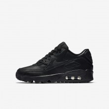 Boys Black Nike Air Max 90 Leather Lifestyle Shoes 812EJXTU