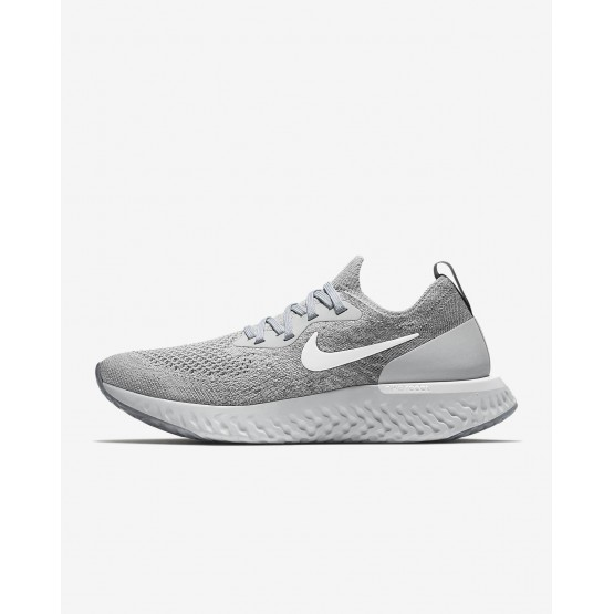 Womens Wolf Grey/Cool Grey/Pure Platinum/White Nike Epic React Flyknit Running Shoes 840ZAQHL