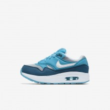 Nike Air Max 1 Lifestyle Shoes For Boys Wolf Grey/Light Blue Fury/Blue Force/White 851GVQIO