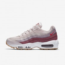 Womens Barely Rose/Vintage Wine/White/Hot Punch Nike Air Max 95 OG Lifestyle Shoes 852CRNIZ
