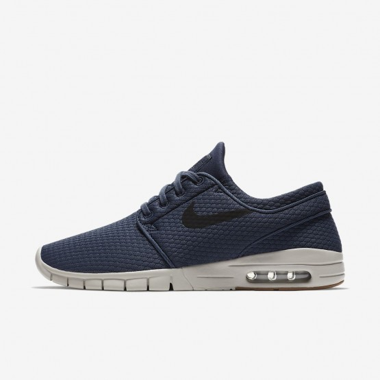 Mens Thunder Blue/Gum Medium Brown/Light Bone/Black Nike SB Stefan Janoski Max Skateboarding Shoes 865DUGNW
