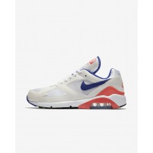 Mens White/Solar Red/Ultramarine Nike Air Max 180 Lifestyle Shoes 886TDVUC