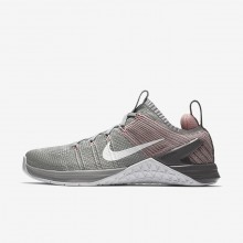 Womens Matte Silver/Rust Pink/Gunsmoke/White Nike Metcon DSX Flyknit 2 Training Shoes 887HETDJ