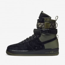 Mens Black/Medium Olive/Neutral Olive Nike SF Air Force 1 Lifestyle Shoes 959EZATY