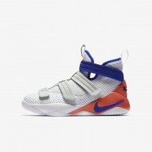 Boys White/Infrared/Pure Platinum/Racer Blue Nike LeBron Soldier XI SFG Basketball Shoes 980VZNKP
