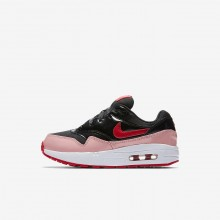 Girls Black/Bleached Coral/Speed Red Nike Air Max 1 QS Lifestyle Shoes 982JMWTS