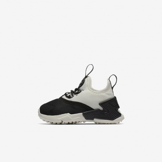 Girls Black/White/Sail Nike Huarache Run Drift Lifestyle Shoes 983INKCX