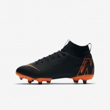 Boys Black/White/Total Orange Nike Jr. Superfly VI Academy MG Soccer Cleats 986NYHME